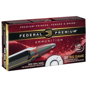 Federal Premium .300 Winchester Magnum Ammunition 20 Rounds Nosler Partition 180 Grains P300WD2