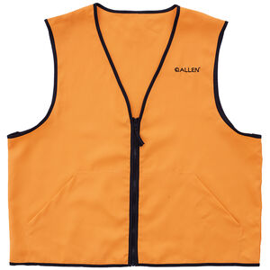 Allen Deluxe Blaze Orange Hunting Vest Medium Standard Fit Heavy Duty Zipper Two Large Pockets Polyester High Visibility Orange