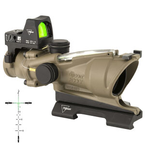 Trijicon 4x32 ACOG ECOS, Dual Illuminated Green Crosshair 5.56 Reticle with Backup Iron Sights, Quick Release Mount & LED 3.25 MOA Red Dot RMR Type 2 - Cerakote Flat Dark Earth