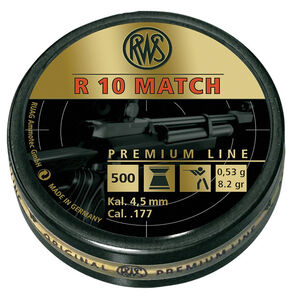 RWS R 10 Match Premium Line Air Gun Pellets .177 Caliber 8.2 Grain Flat Nose Lead Pellet 500 Round Tin