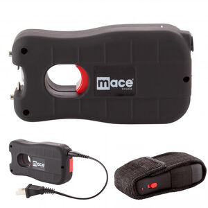 Mace Brand Center Fire Stun Gun with LED Light 2,400,000 Volts Rechargeable Battery with Charging Plug Black
