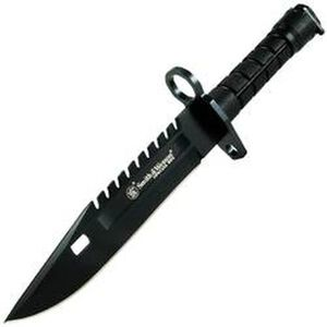 "S&W Special Ops M4/M-16 M-9 Bayonet 7.8"" Stainless Blade Saw Back Black Nylon Handle with Sheath SW3B"