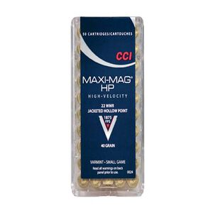 CCI Maxi-Mag .22 WMR Ammunition 50 Rounds JHP 40 Grains 1,875 Feet Per Second