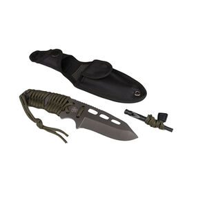 """5ive Star Gear T2XL Survival Paracord Knife 3.625"""" Fixed Blade Drop Point Plain Sheath Paracord Handle Titanium Coated 420 Stainless Steel Olive Drab/Satin"""