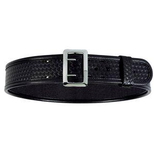 "Bianchi Sam Browne AccuMold Elite Duty Belt Duraskin 32""-34""Chrome Buckle Basket Weave Finish Black 22217"
