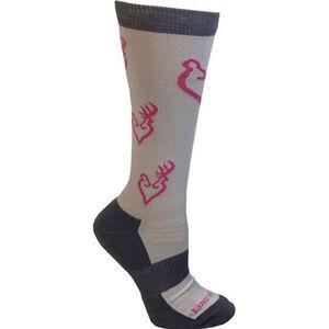 Browning Ladies Heartland Calf Socks Size 6-10 Polyester Blend Calf Height Medium Grey, Black with Blue Buckheart