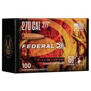 "Federal Fusion Bullets .270 Caliber .277"" Diameter 150 Grain Fusion Bonded Soft Point Projectile 100 Count Per Box"
