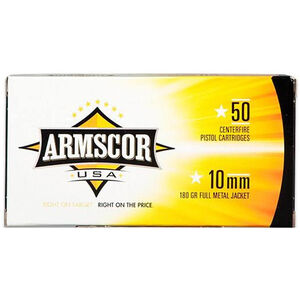 Armscor USA 10mm Auto Full Metal Jacket, 180 Grain, 1008 fps, 50 Round Box