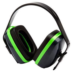 Pyramex VG10 Series Earmuff 25dB Noise Reduction Rating Adjustable Headband Black/Green Accents