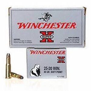 Ammo .25-20 Win Winchester Super-X 86 Grain Flat Nose SP Bullet 1460 fps 50 Rounds X25202
