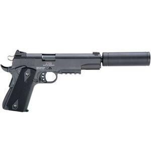 "ATI/GSG 1911 AD OPS Semi Auto Handgun .22 LR 5"" Barrel 10 Rounds Fixed Sights Plastic Grips Picatinny Rail Fake Suppressor Black Finish GERG1911ADOP"