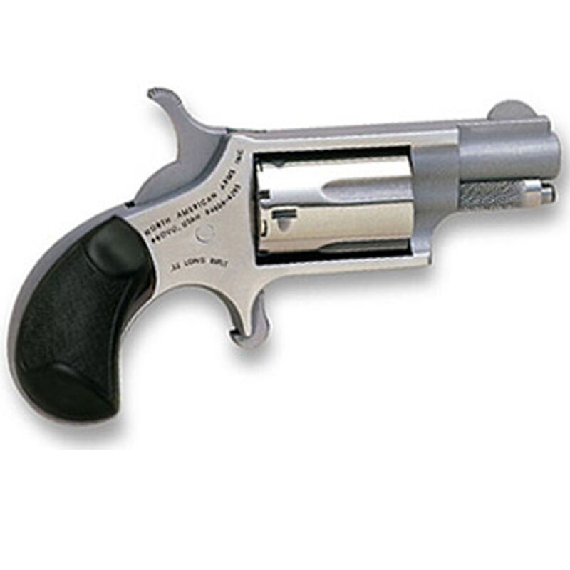 "North American Arms Mini Revolver .22 LR/WMR 1.625"" Barrel 5 Rounds Rubber Grips Stainless Frame and Finish NAA-22MCGRC"