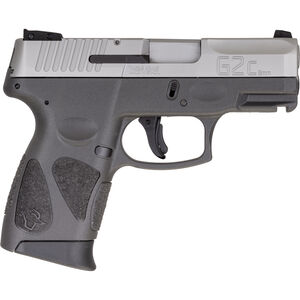 "Taurus G2C 9mm Luger Compact Semi Auto Pistol 3.20"" Barrel 12 Rounds Single Action with Restrike 3-Dot Sights Thumb Safety Gray Polymer Frame Stainless Finish"