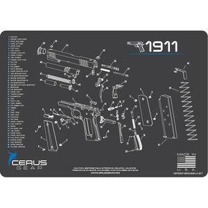 "Cerus Gear 1911 Schematic ProMat Handgun Size 12""x17"" Synthetic Grey/Blue"