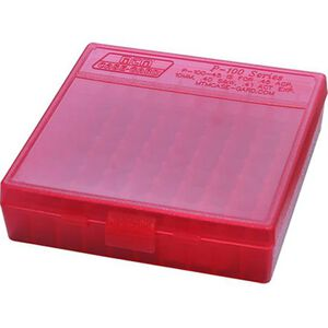 MTM Case-Gard P-100 Series .38 Special 100 Round Flip Top Handgun Cartridge Box Polymer Clear Red P-100-38-29