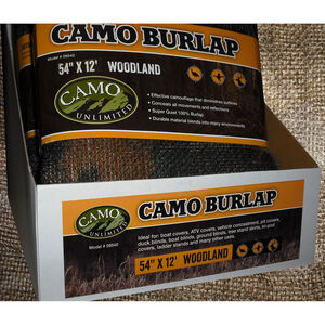 "Camo Unlimited Burlap Fabric 54""x12' Woodland Camo"