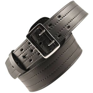"Boston Leather 6504 4 Row Stitched Sam Browne Leather Belt 36"" Nickel Buckle Brass Snaps Plain Leather Black 6504-1-36"