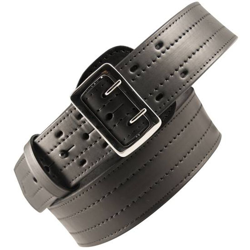 """Boston Leather 6504 4 Row Stitched Sam Browne Leather Belt 36"""" Nickel Buckle Brass Snaps Plain Leather Black 6504-1-36"""