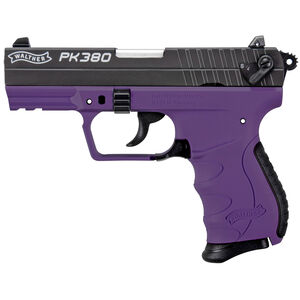 "Walther PK380 .380 ACP Semi Auto Pistol 3.66"" Barrel 8 Rounds 3 Dot Sights Picatinny Accessory Rail Polymer Frame Cerakote Slide Finish Black/Purple"