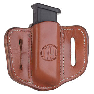 1791 Gunleather Double Stacked Polymer Magazine Single Magazine Pouch 1.2 OWB Ambidextrous Leather Classic Brown