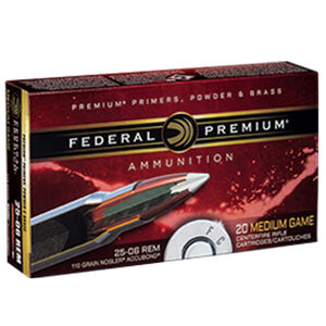 Federal Premium Nosler .25-06 Remington Ammunition 20 Rounds 110 Grain Nosler Accubond 3100fps