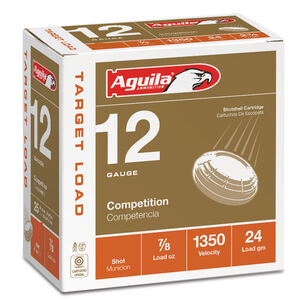 "Aguila International Competition 12 Gauge Ammunition 25 Rounds 2-3/4"" Length 7/8 Ounce #9 Shot 1350fps"
