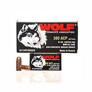 Wolf Performance .380 ACP Ammunition 50 Rounds FMJ 94 Grain