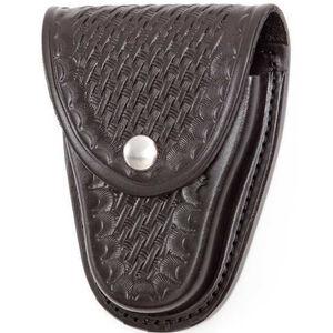 "Gould & Goodrich Handcuff Case Leather Fits 2-1/4"" Belt Brass Snap Black Basket Weave Finish B70W"