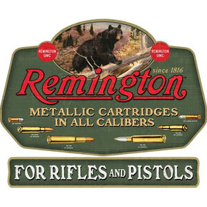 "Open Road Brands ""Remington Bear and Bullets"" Embossed Linked Tin Sign 15""x12.4"""