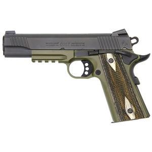 "Colt Government Rail Gun Semi Auto Handgun .45 ACP 5"" Barrel 8 Rounds Black Slide OD Green Frame"