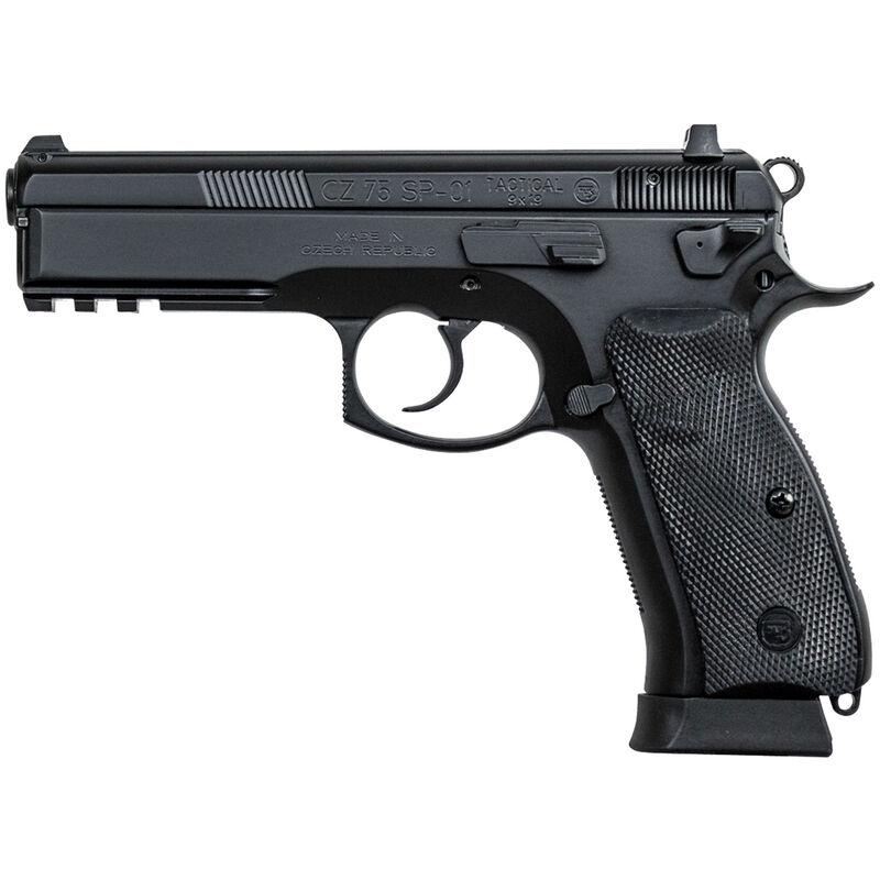 "CZ-USA CZ 75 SP-01 Tactical 9mm Luger Semi Auto Pistol 4.6"" Barrel 10 Rounds Night Sights Picatinny Accessory Rail Steel Frame Matte Black Finish"