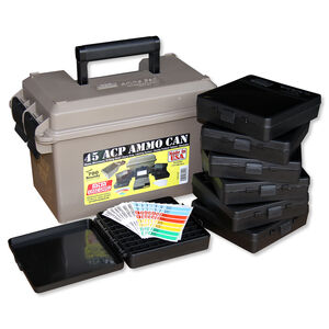 MTM Case-Gard Ammo Can, Pistol Multi-Caliber Combo Kit, Water-Resistant, Dark Brown Earth