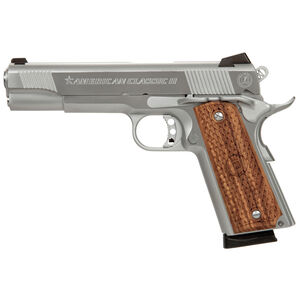 "American Classic II 1911 Semi Auto Pistol 9mm Luger 5"" Barrel 9 Rounds Wood Grips Chrome Finish AC9G2C"