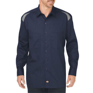 Dickies Men's Long Sleeve Performance Shop Shirt Medium Tall Dark Navy/Smoke