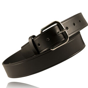 "Boston Leather 1.5"" Off Duty 36"" Leather Belt Nickel U Buckle Plain Black"