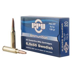 Prvi Partizan PPU 6.5x55 Swedish Ammunition 20 Rounds 139 Grain Full Metal Jacket Boat Tail 2540fps