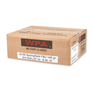 Wolf Military Classic .30-06 Springfield Ammunition 500 Rounds FMJ 145 Grains MC3006FMJ145