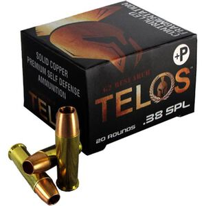 G2 Research Telos .38 Special +P Ammunition 20 Rounds Solid Copper HP 105 Grains G00618