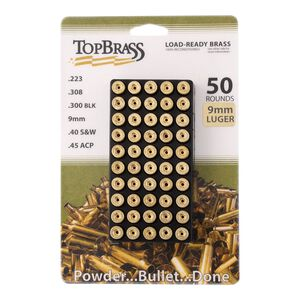 Top Brass 9mm Luger Reconditioned Brass 50 Count with Tray