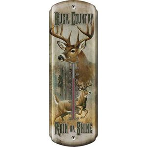 """River's Edge Products Nostalgic """"Buck Country"""" Thermometer Tin 5 by 17 Inches 1358"""