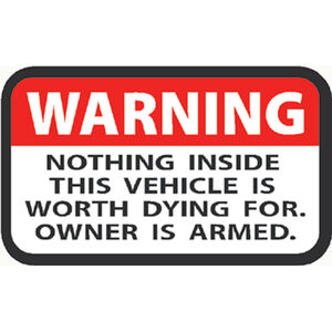 "Outdoor Decals ""Warning Owner Is Armed"" Decal 2""x3"" Vinyl Red/Black on White 4 Pack"