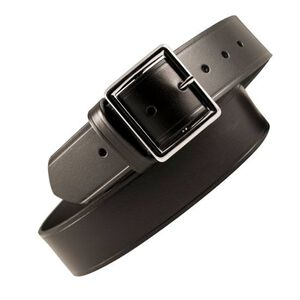 "Boston Leather Garrison Belt Stitched 30"" Brass Plain Black"