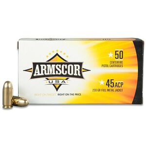 Armscor USA .45 ACP Ammunition 50 Rounds FMJ 230 Grains F AC 45A-12N
