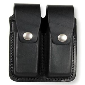 Boston Leather Double Stack 9mm/.40 S&W Dual Magazine Pouch Leather Black 5601-3