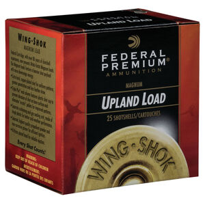 """Federal Wing Shok High Velocity Upland Load 12 Gauge Ammunition 2-3/4"""" #5 Copper Plated Lead Shot 1-3/8 Ounce 1500 fps"""