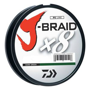 J-Braid Braided Line, 8 lbs Tested 330 Yards/300m Filler Spool, Dark Green