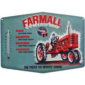 "Open Road Brands ""Farmall"" Embossed Tin Sign with Thermometer 14""x10.25"""