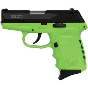 "SCCY CPX-2 9mm Luger Subcompact Semi Auto Pistol 3.1"" Barrel 10 Rounds No Safety Lime Green Polymer Frame with Black Slide Finish"