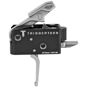 Trigger Tech Combat AR-15 Primary Drop In Replacement Trigger Flat Lever Two Stage Non-Adjustable Natural Stainless Steel Finish