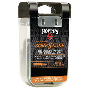 Hoppe's No. 9 Boresnake Snake Den 6mm/.240/.243/.25 Caliber Rifle Length Pull Thru Bore Cleaning Rope with Bronze Brush and Carry Case with Pull Handle Lid